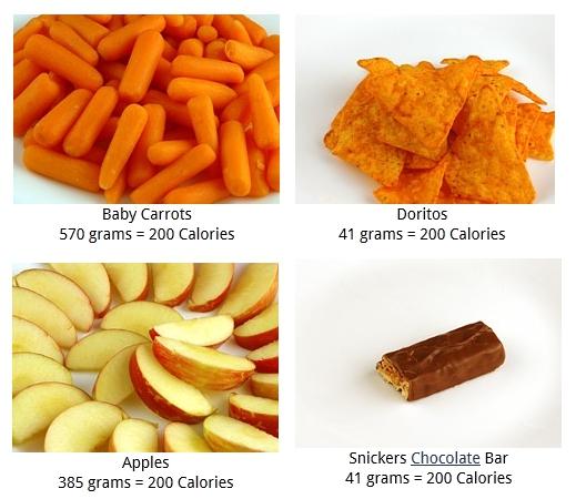 Aquí hay 200 calorías de distintos alimentos. ¿Crees que es lo mismo comer 200 calorías de manzana que 200 calorías de chips de maíz? (puedes ver más ejemplos en http://www.wisegeek.com/what-does-200-calories-look-like.htm)